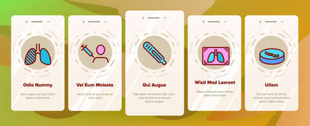 Tuberculosis Disease Onboarding Mobile App Page Screen Vector. Healthy Lungs And With Tuberculosis, Facial Mask And Scale, Pills Bottle And Fir-trees Illustrations