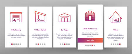 Shed Construction Onboarding Mobile App Page Screen Vector. Shed Building For Storaging Pitchfork And Rake, Shovels And Trolley, Falling Apart Storage Illustrations