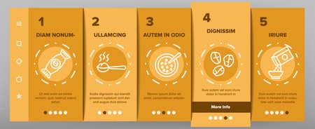 Oatmeal Healthy Food Onboarding Mobile App Page Screen Vector. Oat Cookies And Porridge Cereal Breakfast, Oatmeal And Agriculture Organic Crop Products Illustrations