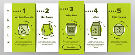 Zero Waste Reusable Onboarding Mobile App Page Screen Vector. Zero Waste Package And Container, Kitchen Utensil Fork And Spoon, Bag And Paper Illustrations