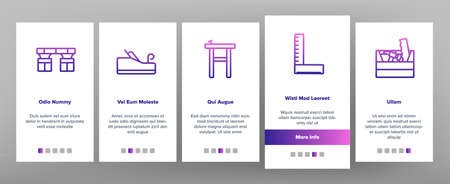 Carpenter Equipment Onboarding Mobile App Page Screen Vector. Protect Glasses And Saw, Drill And Hammer, Working Table, Vise And Box With Carpenter Tool Illustrations