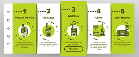 Walkie Talkie Device Onboarding Mobile App Page Screen Vector. Walkie Talkie Wireless Communication Equipment In Different Style, Radio Digital Gadget Illustrations