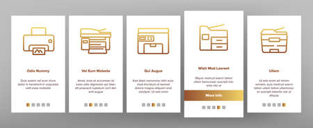 Photocopier Device Onboarding Mobile App Page Screen Vector. Professional Photocopier And Scanner Equipment And Ink, Electronic Multifunctional Printer Illustrations Ilustración de vector