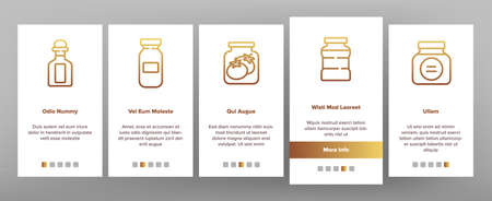 Pickled Product Food Onboarding Mobile App Page Screen Vector. Pickled Berry And Fruit, Vegetables And Juice, Tomato And Cherry, Banana And Peach In Jar Illustrations