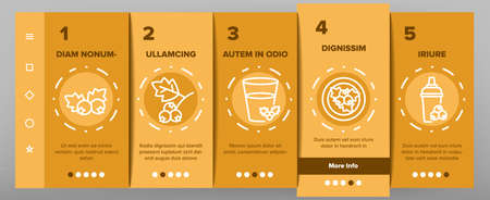 Hawthorn Berry Food Onboarding Mobile App Page Screen Vector. Hawthorn Syrup And Juice, Beverage And Fresh Drink, On Plate And Bottle Package Illustrations
