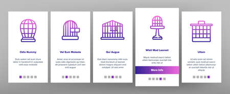 Cage Domestic Animal Onboarding Mobile App Page Screen Vector. Bird Or Parrot Cage And For Transportation Dog Puppy Or Cat Pet Equipment Illustrations 向量圖像
