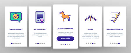 Dog Training Equipment Onboarding Mobile App Page Screen Vector. Animal Dog With Muzzle And Medal, Certificate And Award, Stick And Ball Illustrations