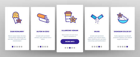Vanilla Flower Spice Onboarding Mobile App Page Screen Vector. Vanilla Stick Spicy Ingredient For Ice Cream And Coffee, Donut And Drink, Bottle And Bag Illustrations