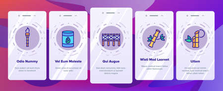 Bamboo Nature Plant Onboarding Mobile App Page Screen Vector. Bamboo Material House And Bridge, Fishing Rod And Flute, Toothbrush And Table Illustrations