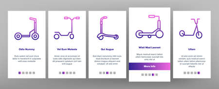 Kick Scooter Vehicle Onboarding Mobile App Page Screen Vector. Kick Scooter In Different Style For Ride On Snow And Street, Electrical Urban Transport Illustrations