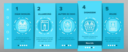 Sterilizer Device Onboarding Mobile App Page Screen Vector. Sterilizer Electronic Equipment Milk Bottle For Cleaning, Steaming And Disinfection Illustrations Vecteurs