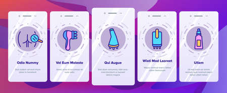 Cellulite Combat Tool Onboarding Mobile App Page Screen Vector. Anti-cellulite Cream Cosmetic And Massager Equipment, Cellulite And Fat Research Body Illustrations