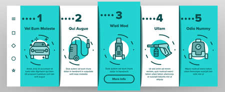Pressure Washer Tool Onboarding Mobile App Page Screen Vector. Pressure Washer Equipment For Wash Car Wheel And Glass, Brush And Sprayer Illustrations Ilustração