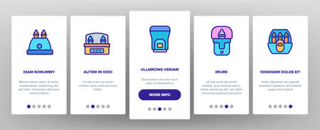 Sterilizer Device Onboarding Mobile App Page Screen Vector. Sterilizer Electronic Equipment Milk Bottle For Cleaning, Steaming And Disinfection Illustrations Ilustração