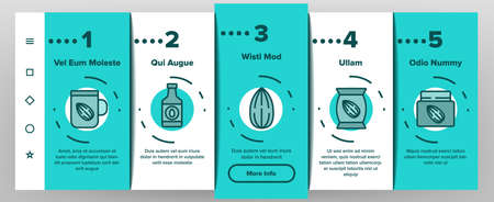 Almond Natural Food Onboarding Mobile App Page Screen Vector. Almond Milk Package And Bottle Drink, Delicious Nut Organic Ingredient And Oil Illustrations