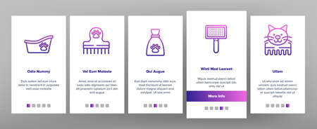 Grooming Animal Tool Onboarding Mobile App Page Screen Vector. Equipment For Grooming Pet Claws And Wool, Washing And Drying Dog, Pet Shop And Hairbrush Illustrations