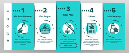 Cbd Cannabis Product Onboarding Mobile App Page Screen Vector. Cannabis Drink And Ice Cream, Cake And Pie, Capsule And Flask, Liquid Drop And Bottle Illustrations