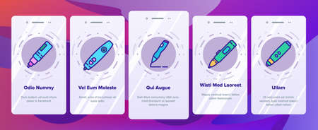 3d Pen Printing Gadget Onboarding Mobile App Page Screen Vector. 3d Pen Engineering Electronic Stationery Device For Print Constructor Illustrations Illustration