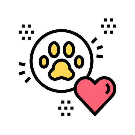 pet paw love heart color icon vector. pet paw love heart sign. isolated symbol illustration