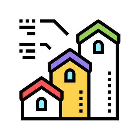 mortgage from little to big house color icon vector. mortgage from little to big house sign. isolated symbol illustration Ilustração