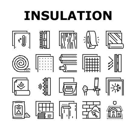 Insulation Building Collection Icons Set Vector. Insulation Roll Material And Wooden Plywood, Waterproof And Temperature Preservation Layer Black Contour Illustrations