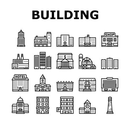 Building Architecture Collection Icons Set Vector. Skyscraper And Bank, Hospital And Shop, Railway Station And Hotel, Church And Parking Building Black Contour Illustrations