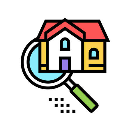 house research color icon vector. house research sign. isolated symbol illustration Ilustração