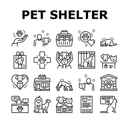Animal Pet Shelter Collection Icons Set Vector. Pet Shelter Building And Worker, Eating Cat And Dog, Puppy Present And Medical Document Black Contour Illustrations