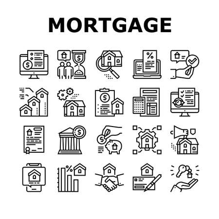 Mortgage Real Estate Collection Icons Set Vector. Mortgage Agreement Contract Signing And Handshake, House Research And Buying Black Contour Illustrations Ilustração