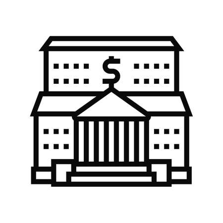 bank financial building line icon vector. bank financial building sign. isolated contour symbol black illustration