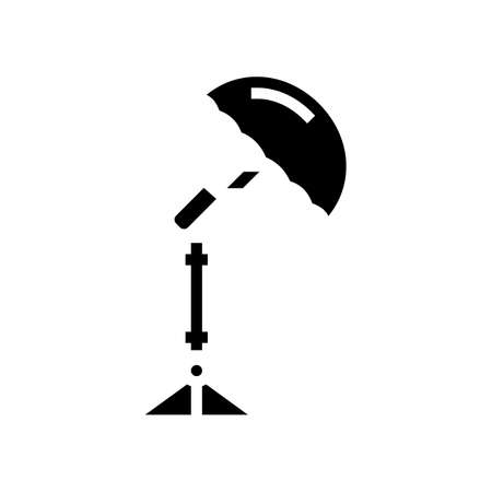 umbrella photo studio device glyph icon vector. umbrella photo studio device sign. isolated contour symbol black illustration