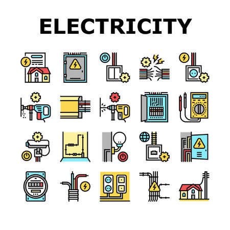 Electrical Installation Tool Icons Set Vector. Socket And Substation Automation Box Installation, Wall Chipping And Drilling For Wiring Color Contour Illustrations Ilustración de vector