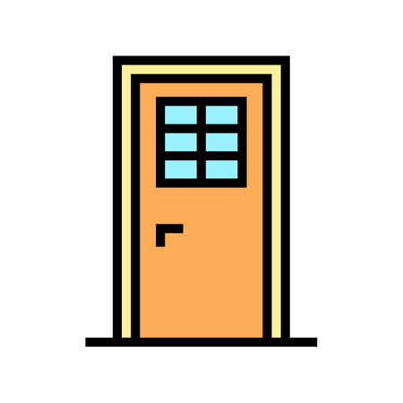 door with window color icon vector. door with window sign. isolated symbol illustration