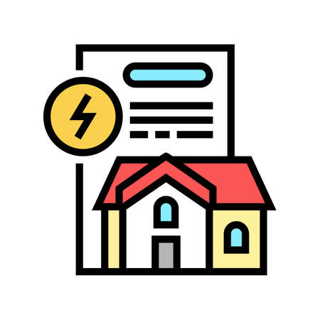 house electricity contract color icon vector. house electricity contract sign. isolated symbol illustration Vector Illustration