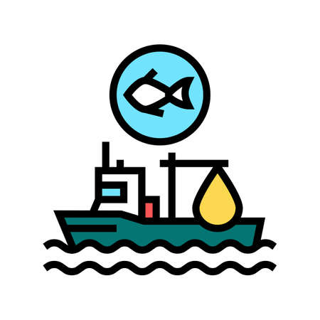 fishing ship color icon vector. fishing ship sign. isolated symbol illustration 向量圖像