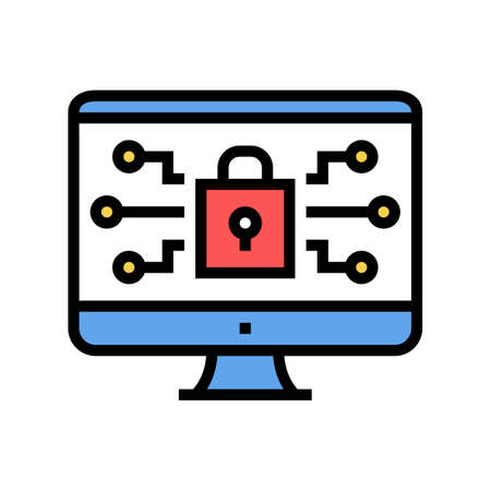 computer security color icon vector. computer security sign. isolated symbol illustration Çizim