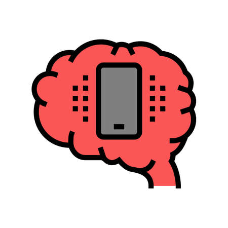 mobile phone brain color icon vector. mobile phone brain sign. isolated symbol illustration