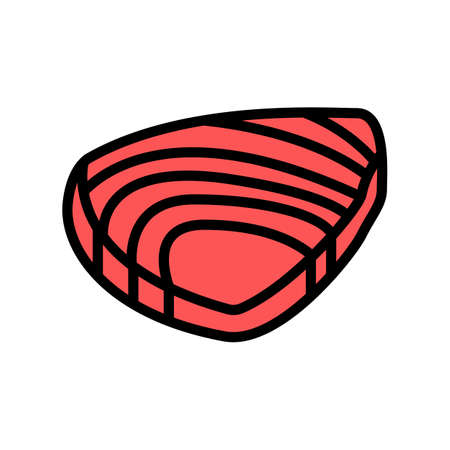 tuna meat fillet color icon vector. tuna meat fillet sign. isolated symbol illustration 向量圖像