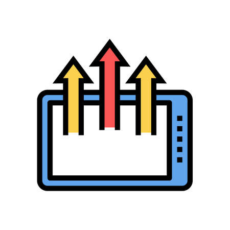 tablet gadget arrows up color icon vector. tablet gadget arrows up sign. isolated symbol illustration Векторная Иллюстрация