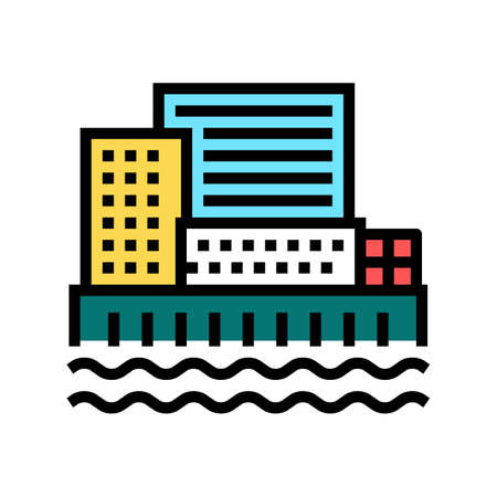 city port color icon vector. city port sign. isolated symbol illustration