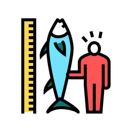 tuna size and fisherman color icon vector. tuna size and fisherman sign. isolated symbol illustration
