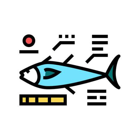 tuna fish characteristics color icon vector. tuna fish characteristics sign. isolated symbol illustration