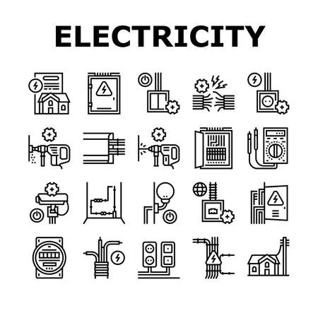 Electrical Installation Tool Icons Set Vector. Socket And Substation Automation Box Installation, Wall Chipping And Drilling For Wiring Black Contour Illustrations