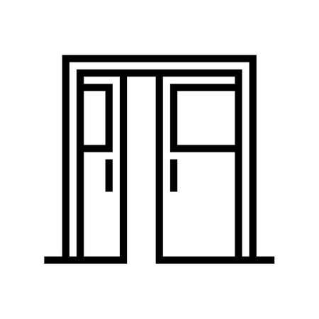 sliding double door line icon vector. sliding double door sign. isolated contour symbol black illustration