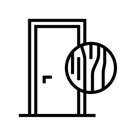 wooden door line icon vector. wooden door sign. isolated contour symbol black illustration