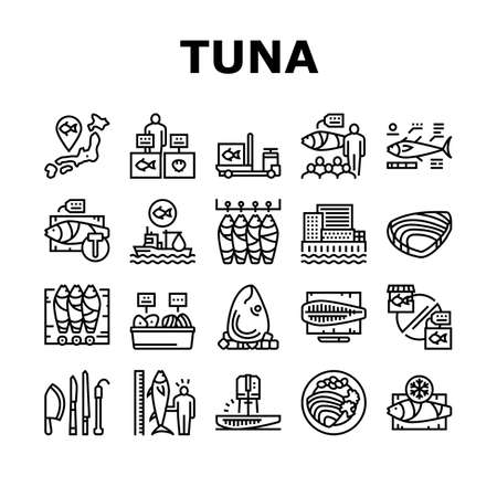 Tuna Auction Tsukiji Market Collection Icons Set Vector. Tuna Fishing And Delivery, Fish Meat And Fillet, Fisherman And Seller, Sale And Buy Black Contour Illustrations
