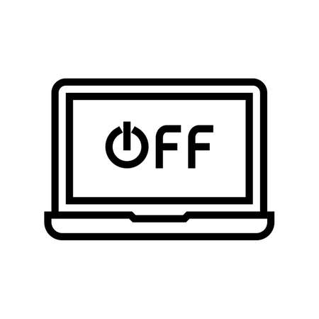 off laptop line icon vector. off laptop sign. isolated contour symbol black illustration Çizim