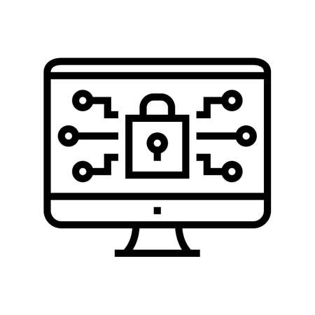 computer security line icon vector. computer security sign. isolated contour symbol black illustration Çizim