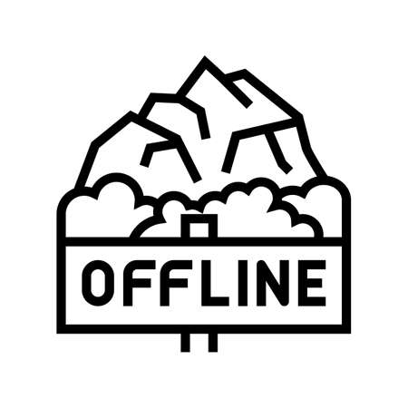 offline mountain travel line icon vector. offline mountain travel sign. isolated contour symbol black illustration