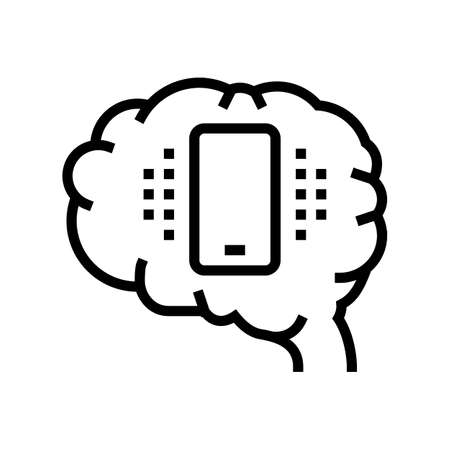 mobile phone brain line icon vector. mobile phone brain sign. isolated contour symbol black illustration